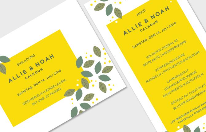 Hochzeit, Karten, Papeterie, Einladung, Menü, gelb, Pollen, Sonne