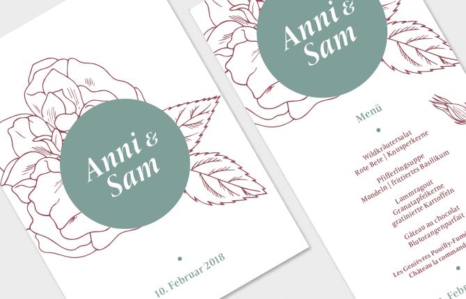 Hochzeit, Karten, Papeterie, Einladung, Menü, Liniengrafik, Blüte, Punkt