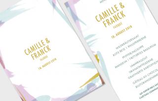 Hochzeit, Karten, Papeterie, Einladung, Menü, pastell, Pinsel