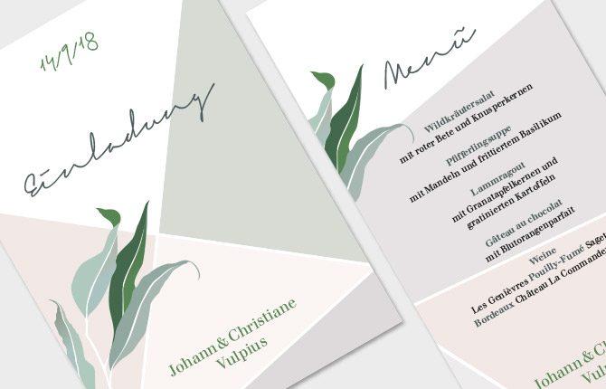 Hochzeit, Karten, modern, Eukalyptus